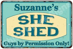 Suzanne's SHE SHED Vintage Look Sign 8x12 Chic Woman Metal Wall Décor 8127921