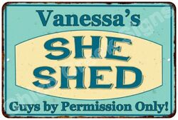 Vanessa's SHE SHED Vintage Look Sign 8x12 Chic Woman Metal Wall Décor 8127963