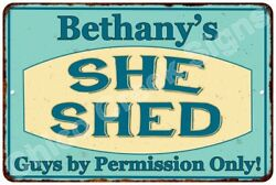 Bethany's SHE SHED Vintage Look Sign 8x12 Chic Woman Metal Wall Décor 8128166