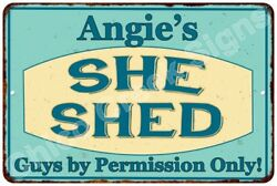 Angie's SHE SHED Vintage Look Sign 8x12 Chic Woman Metal Wall Décor 8128095
