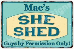 Mae's SHE SHED Vintage Look Sign 8x12 Chic Woman Metal Wall Décor 8128061
