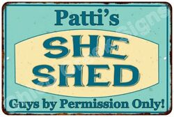 Patti's SHE SHED Vintage Look Sign 8x12 Chic Woman Metal Wall Décor 8128233