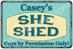 Casey's SHE SHED Vintage Look Sign 8x12 Chic Woman Metal Wall Décor 8128229