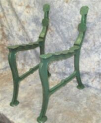 2 Green Cast Iron Park Bench Patio School Furniture Table Base Leg Vintage