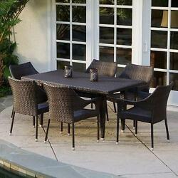 Wicker 7 Pc Outdoor Dining Set Patio Lawn Chairs Table All Weather Furniture NEW