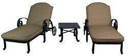 WYNN COLLECTION CHAISE LOUNGE W CUSHION & END TABLE 3 PIECE outdoor patio set