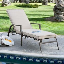 Beige Cushion Metal Chaise Lounge Chair Home Outdoor Seating Furniture Garden