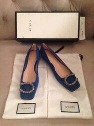 GUCCI WOMENS DIONYSUS SUEDE LEATHER BALLET FLATS - BLUE - SIZE 35.5 OR 36 - NIB!
