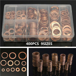 400PCS 9SIZES Copper Washer Assortment Kit Mechanic Electrician Sump Plug w Box $37.94