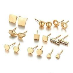 Sexy Sparkles 9 Pairs Small Gold Tone Stud Earrings Ear Posts Womens Girls Assor $6.99