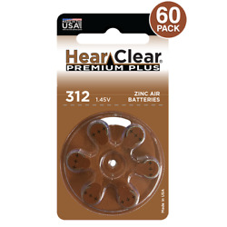 60 HearClear Size 312 Hearing Aid Batteries Mercury Free Made in USA $13.78