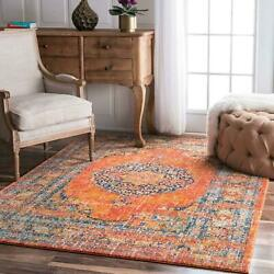 nuLOOM NEW Vintage Oriental Distressed Medallion Area Rug in Orange $49.99
