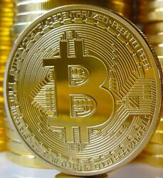 BITCOINS! Gold Plated Commemorative Bitcoin .999 Fine Copper Physical Coin Bit  $5.99