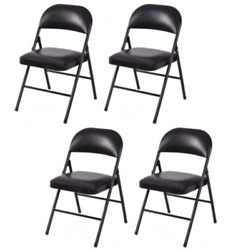 Black Metal Chairs Picnic Set for Parties Outdoor Folding Heavy Duty Patio 4 NEW