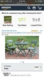 Patio furniture Deck Furniture Table And Chairs Quik-Fold Cafe Bistro Set Sage