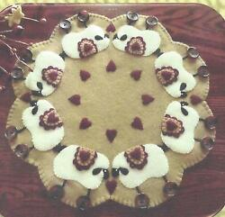 Love Ewes sfelted wool applique penny rug candle mat pattern by Cath's Pennies