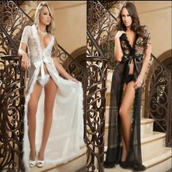 Plus Size Women Sexy Lingerie Babydoll Sleepwear Nightwear Robe Pajama Set M5XL