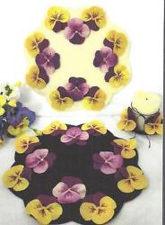 Pansy Garden wool applique penny rug candle mat pattern by Cath's Pennies Design