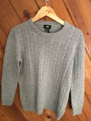 H&M Women's Grey Knit Wool Blend Pullover Crewneck Sweater Gently Used