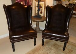 1413-501: Pair of 2 DREXEL HERITAGE Leather Wing Chairs or Host Dining Chairs