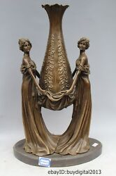 16 Western Bronze Copper Marble Art Home Decoration Two Bell Statue sculpture