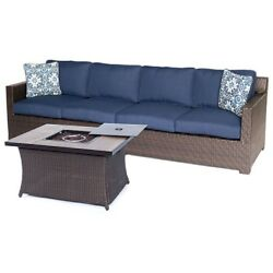 NEW Hanover Metropolitan 3-Pc Woven Fire Pit Lounge Set-Navy BlueNatural Stone!