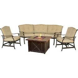 NEW! Traditions 4-Piece Lounge Set w Durastone Fire Pit Natural Oat!!