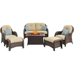 ALMO-NEWPT6PCFPCRMWG-Newport 6-Piece Woven Seating Set in Cream with Fire Pit T
