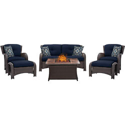 STRATH6PCFPNVYWG-Strathmere 6-Piece Lounge Set in Navy Blue with Fire Pit