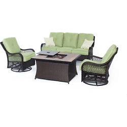ORLEANS4PCFPGRNA-Orleans 4-Piece Woven Lounge Set with Fire Pit Table in A