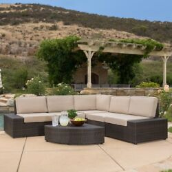 All-Weather Sectional Sofa Set 6 pcs Seating Lounge Outdoor Patio Pool Furniture