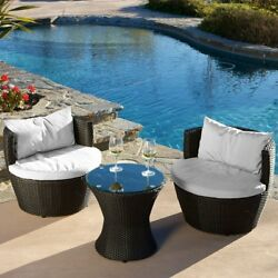 3 Piece Outdoor Bistro Set Patio Deck Pool Chat Wicker Seating Furniture Chairs