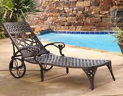 Outdoor Chaise Lounge Chair Bronze Metal Pool Deck Seating Adjustable Backrest