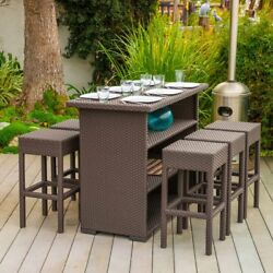 All-Weather Wicker Bar Table & Stools Set 7 Piece Outdoor Patio Deck Furniture