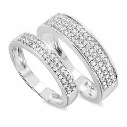 12 Carat Diamond His And Hers Wedding Rings 10K White Gold