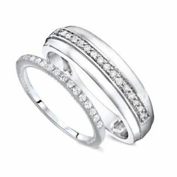 38 Carat T.W. Round Cut Diamond His And Hers Wedding Band Set 14K White Gold