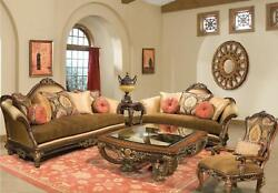 Luxury Silk Chenille Solid Wood Formal Sofa Set 4Pcs Sp Order Benetti's Sicily