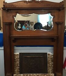 Ca. 1890  American quarter sawn Oak Fireplace Mantel Architectural Salvage