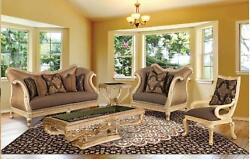 Luxury Golden Frame Cocoa Silk Chenille Sofa Set 3Pcs Sp Order Benetti's Riminni