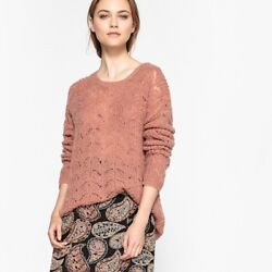 La Redoute Collections Womens Button Back Knit JumperSweater Br  Pink L