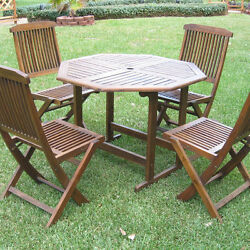 Brown Patio Dining Set 5 Piece Folding Chairs Outdoor Home Living Poolside Deck