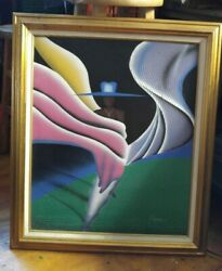 LADY Vintage Original Old Oil Canvas MODERN ART Painting Artist F.Ratell 25quot;x28quot; $99.99