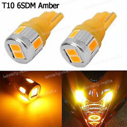 4pcs W5W 501 T10 Wedge Amber Yellow LED Marker Corner Signal Light Bulbs 194 168