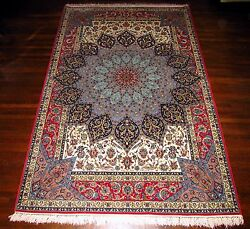 Unique Isfahan Masterpiece Gombad design Persian Rug 5'2