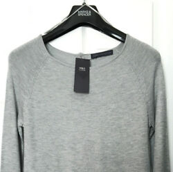 M&S Marks s6 Ladies Silver Grey Button Down Back Flute Cuff Jumper Sweater BNWT