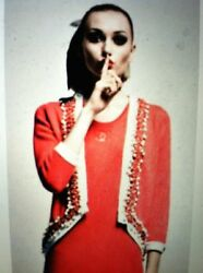 Chanel 10P LESAGE Red Cashmere Jacket Cardigan With Pearls Trim FR36 $3850