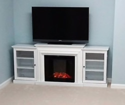 72 in. Entertainment Center Real Flame Frederick Electric Fireplace in White