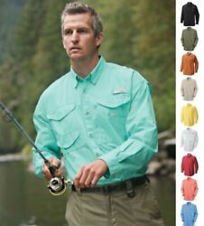 NEW COLUMBIA Men's PFG Bonehead Long Sleeve Shirt FishingHiking Poplin Cotton