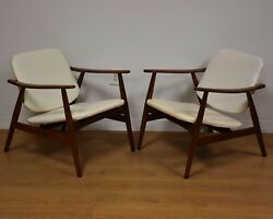White Mid Century Lounge Chairs- A Pair