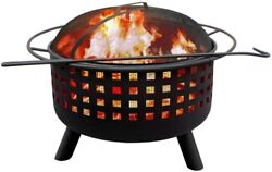 Wood Burning Fire Pit Outdoor Black Fire Pit